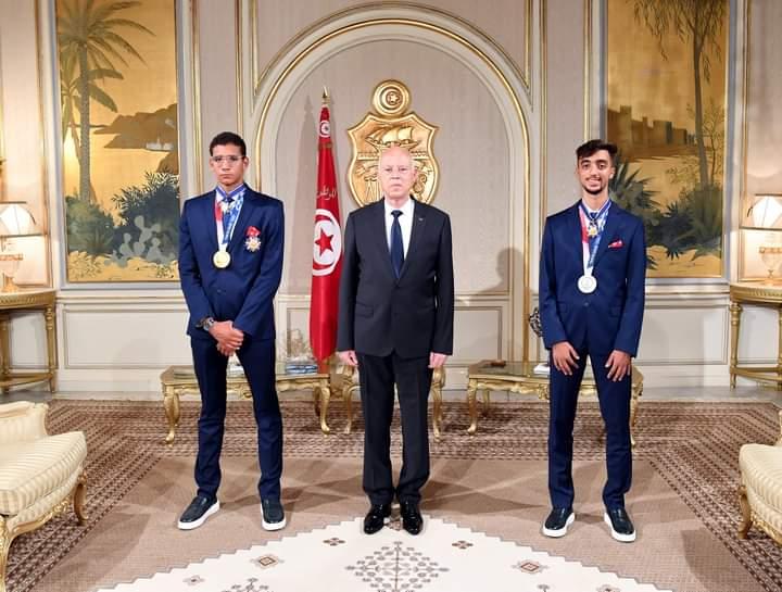 Ayoub Hafnaoui et Khalil Jendoubi - le président de la République